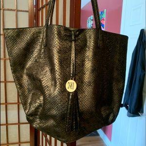 Gold snakeskin satchel